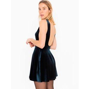 American Apparel Velvet Skater Dress Burgundy S